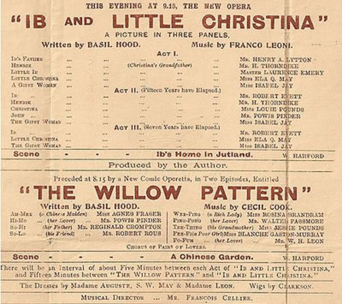 """Playbill for the """"The Willow Pattern"""" Image Credit: The Wikipedia"""