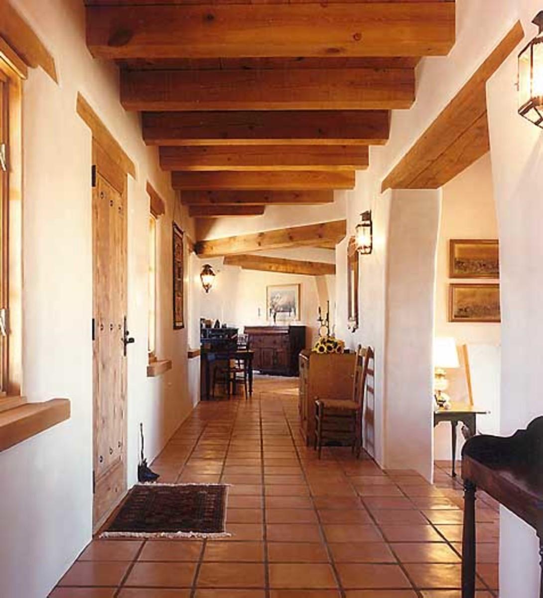 rustic, beams, hallway, ceiling