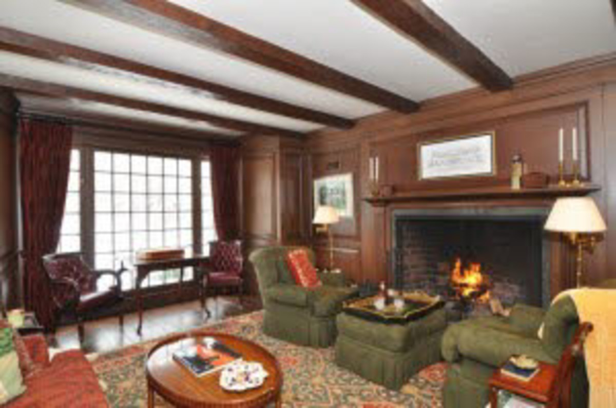 Wood beams in a family room