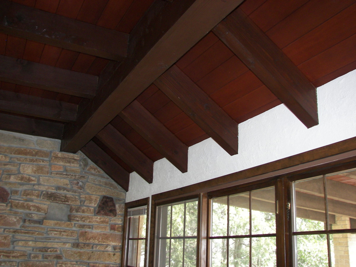Wood Ceiling with Wooden Beams - Redwood Ceiling