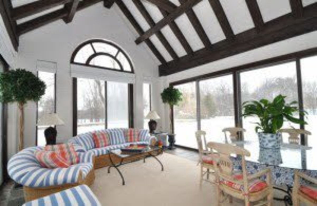Wood beams on a vaulted ceiling