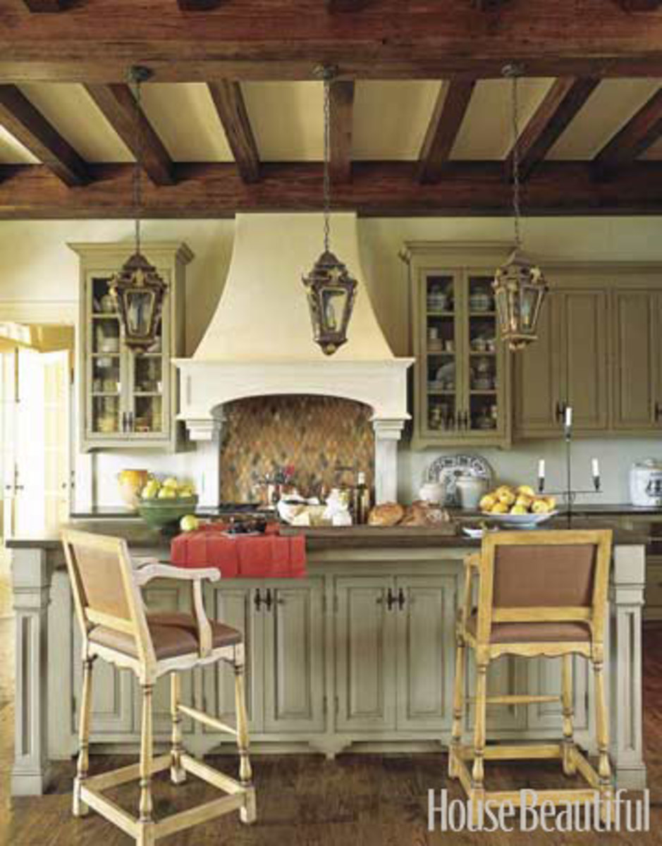 wood ceiling beams in a kitchen