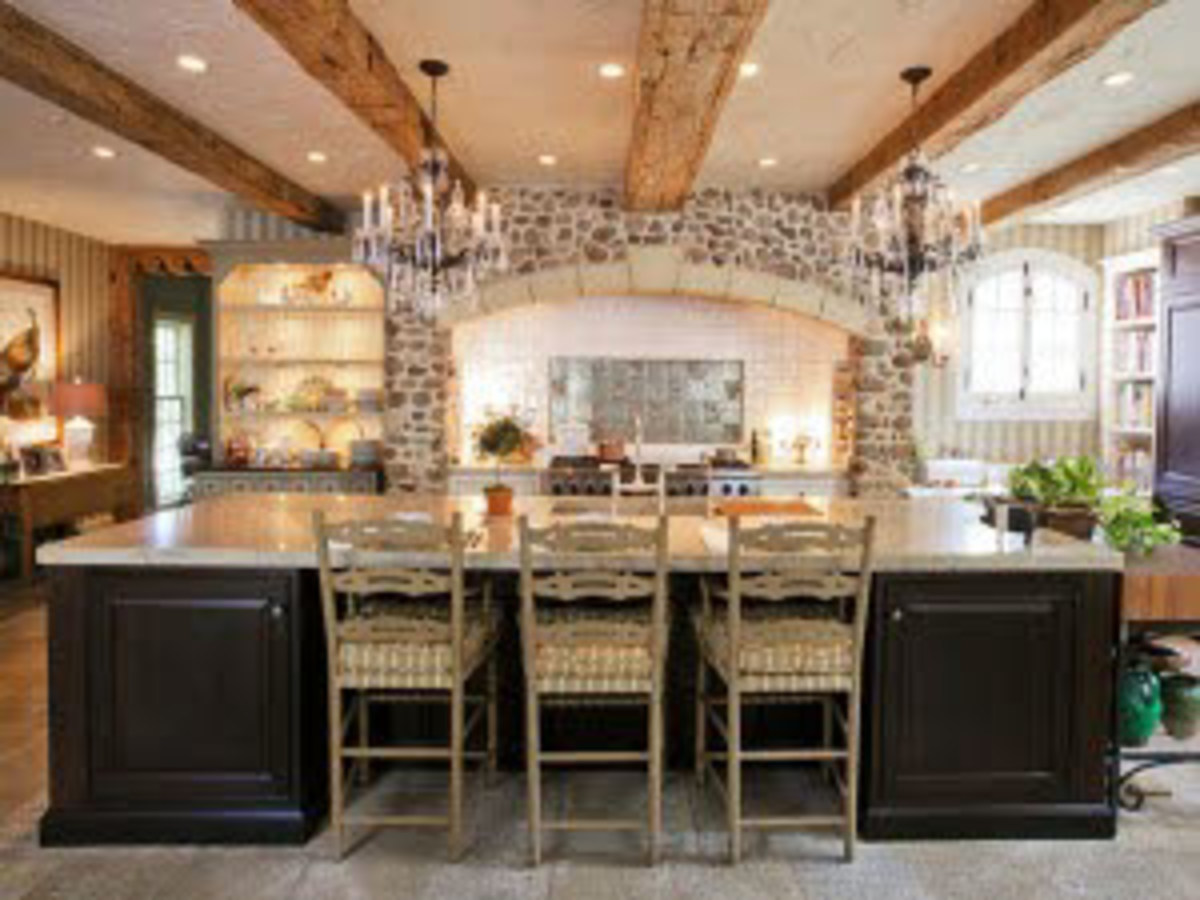 Wood beams flowing from the kitchen through the family room