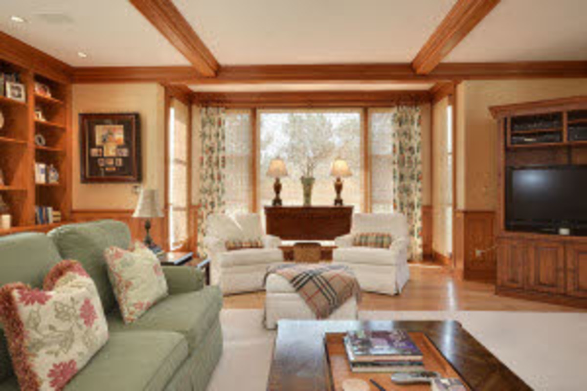 Wood beams in a contemporary family room