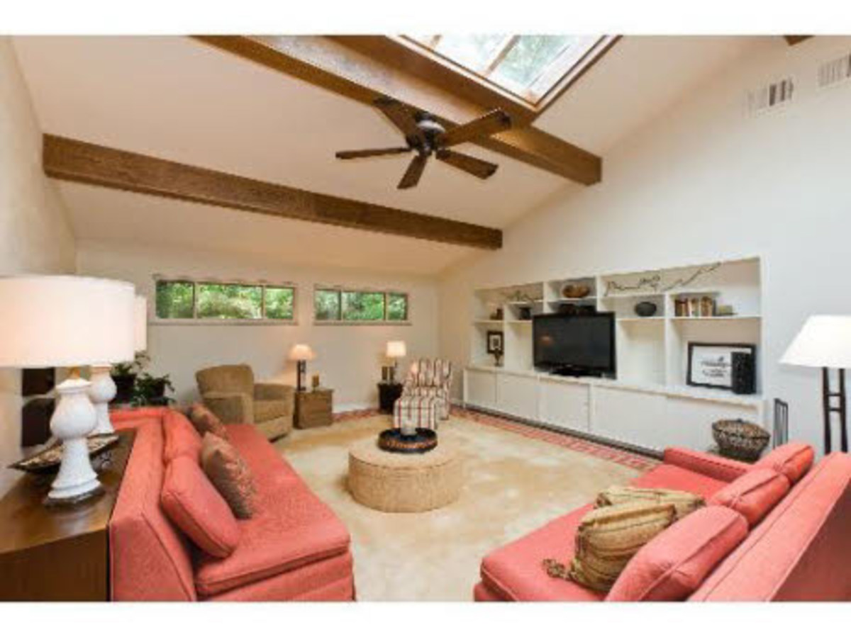 Wood Beams in a Contemporary Great Room