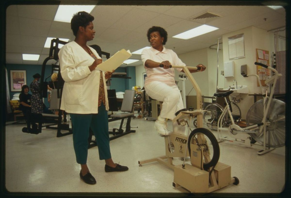 Physical therapy: Roxie Jackson and Shirley Nealy