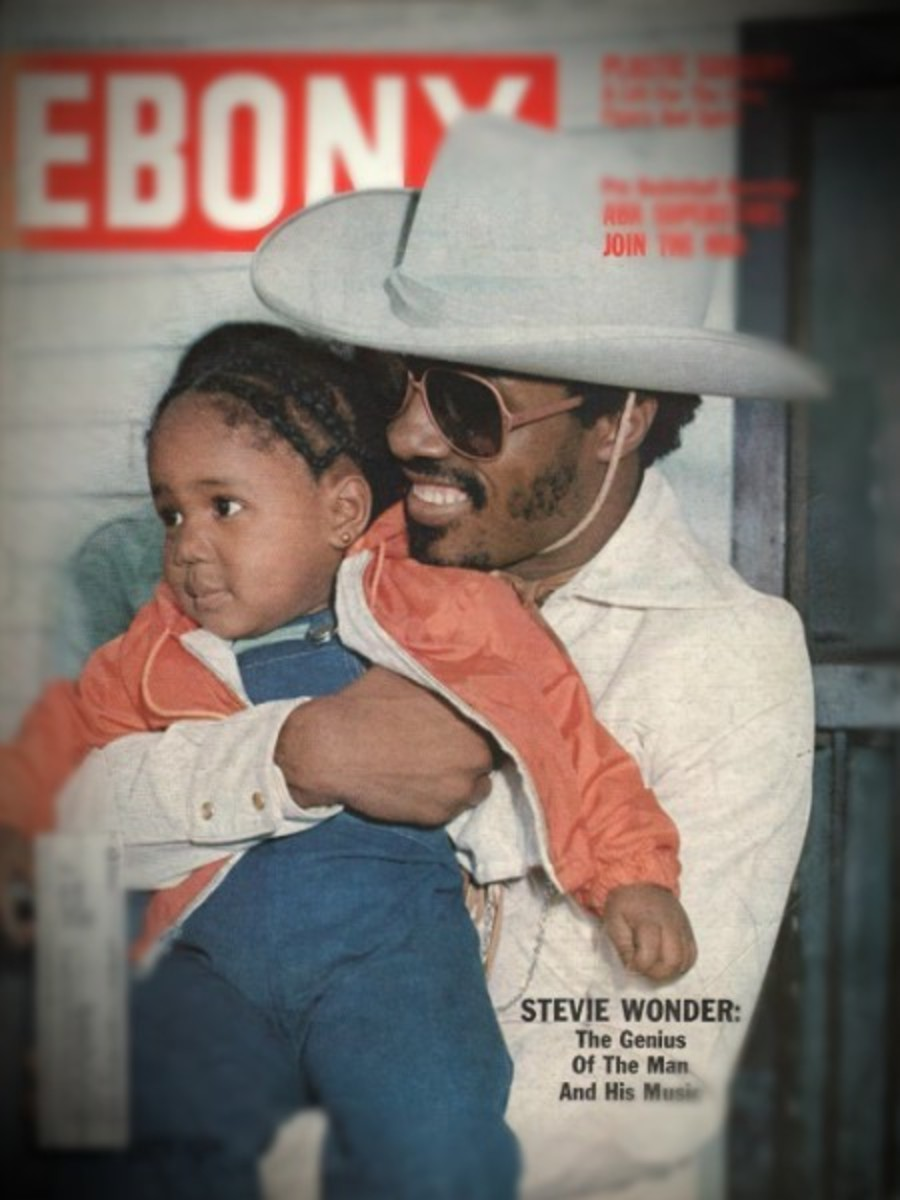 Stevie Wonder and daugther Aisha on the January 1977 cover of Ebony Magazine which was published by Johnson Publishing Company. Original Photo Credit: Billy Pierce Jr.