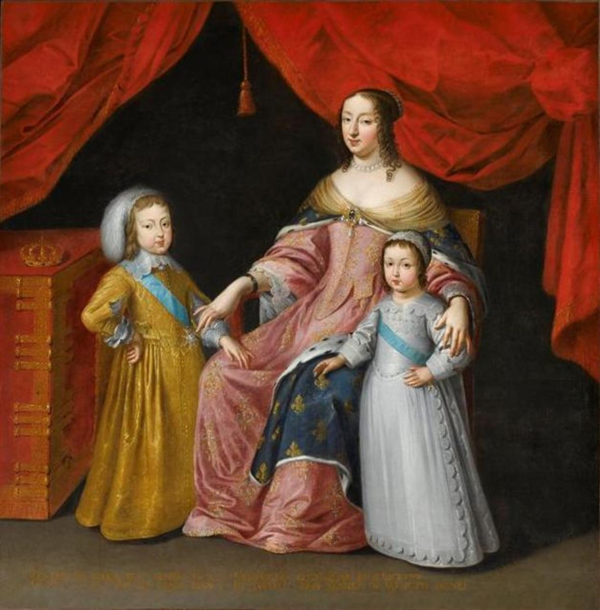 LOUIS AS A BOY WITH HIS BROTHER, PHILIPPE I, AND MOTHER, ANNE OF AUSTRIA, QUEEN OF FRANCE