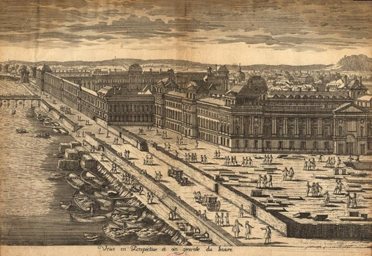 THE LOUVRE AS DRAWN IN 17TH CENTURY FRANCE