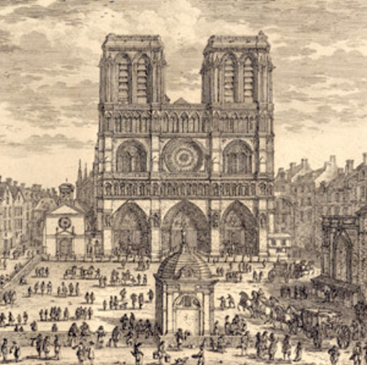 NOTRE DAME CATHEDRAL AS DRAWN IN 17TH CENTURY FRANCE
