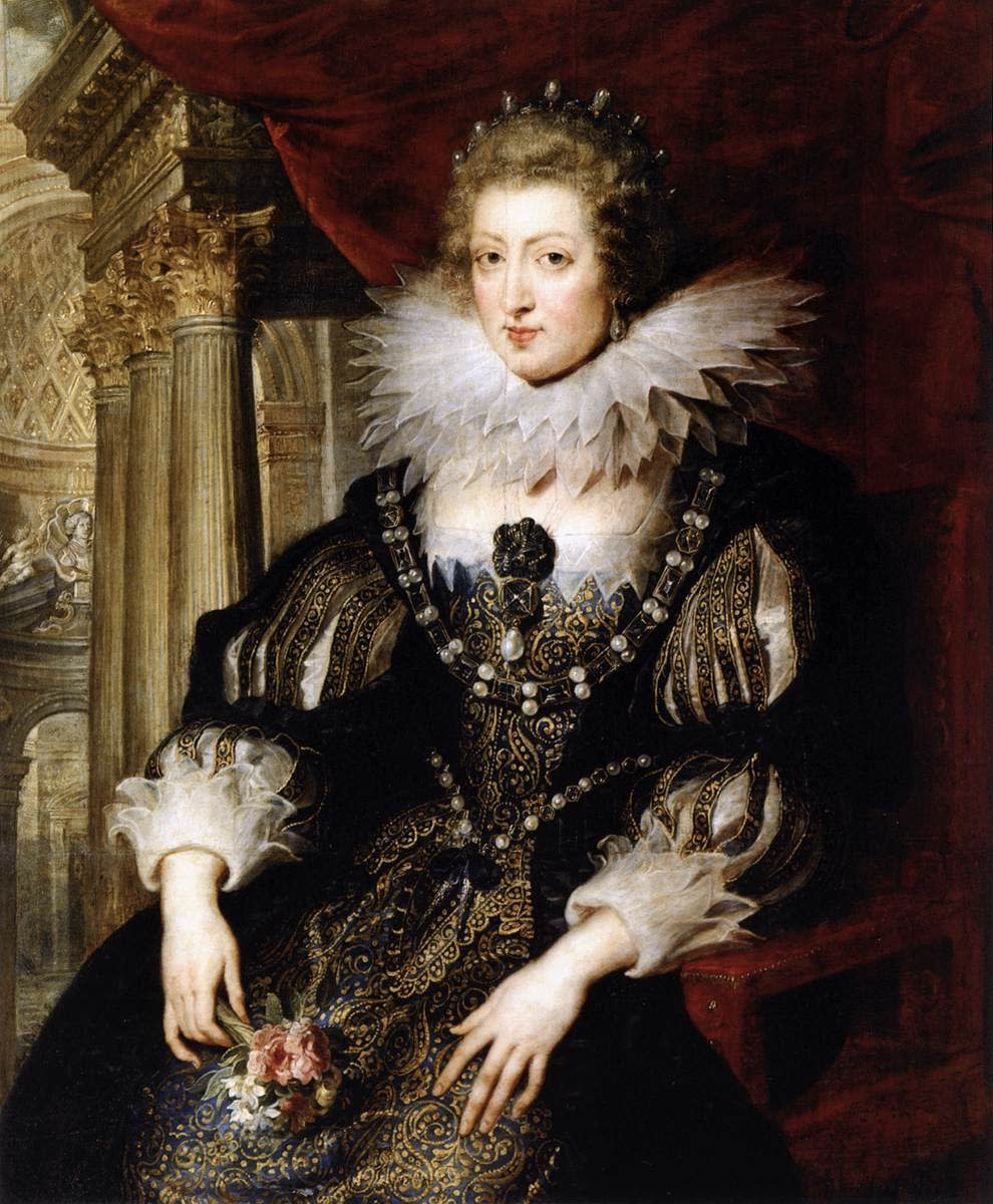 ANNE OF AUSTRIA, QUEEN OF FRANCE AND MOTHER TO KING LOUIS XIV (PAINTING BY PETER PAUL RUBENS)