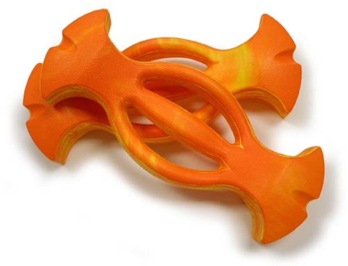 orange ergonomic barbells for the swimming pool