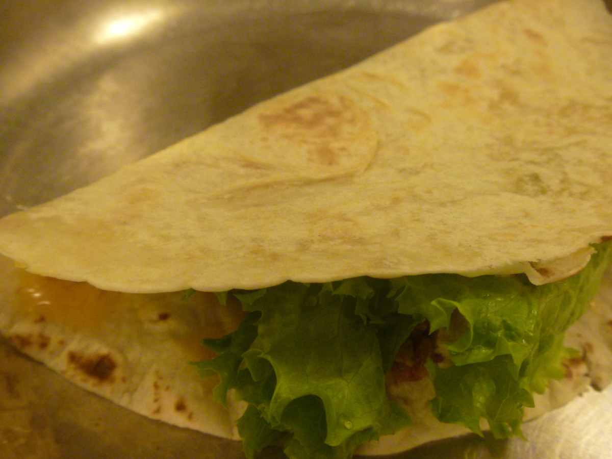 Before folding over, add lettuce and onions if you want