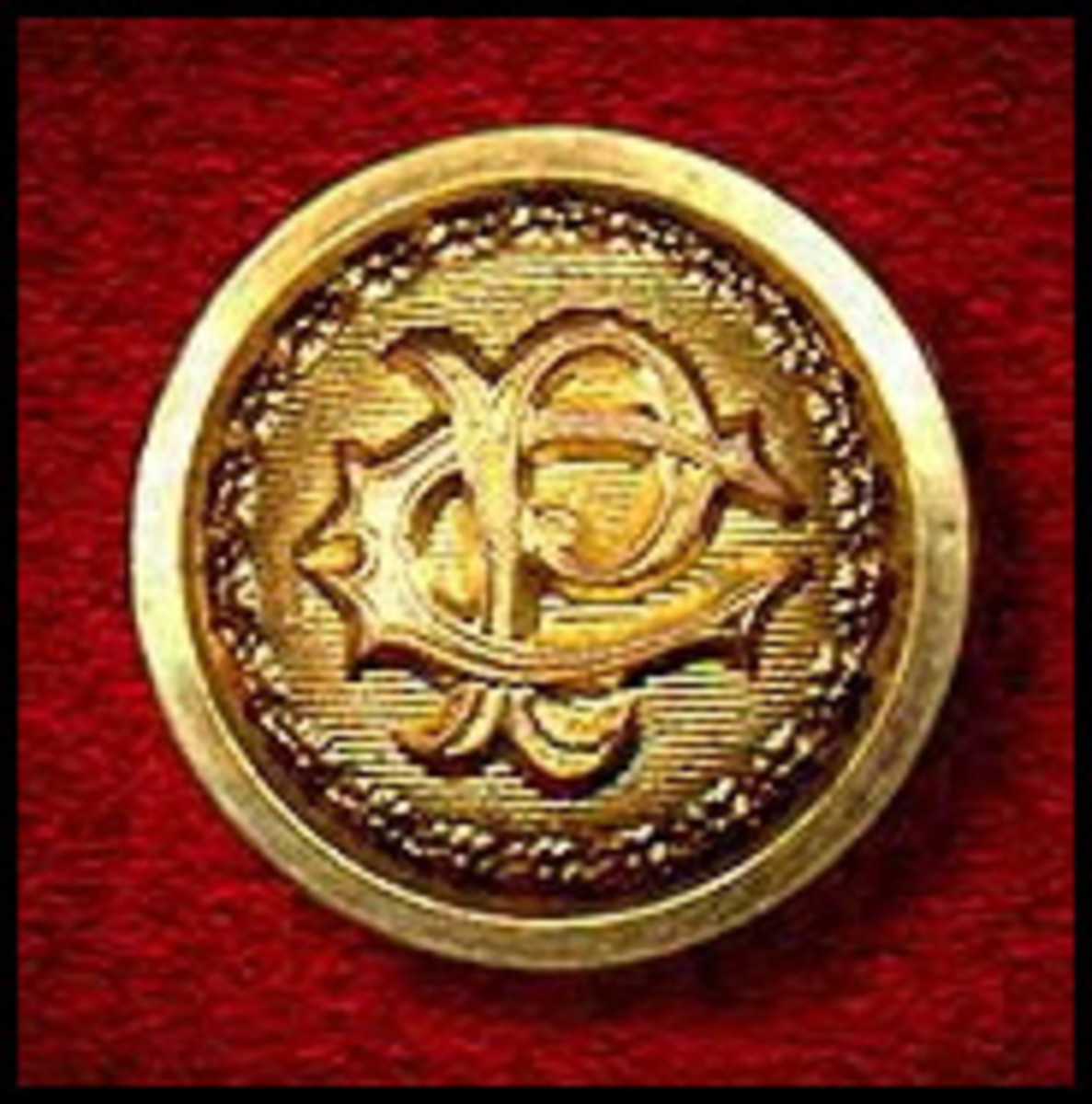 """Central Pacific Railroad """"High Dome"""" Gilt """"Staff"""" Uniform Button, c1867 - The Cooper Collection of American Railroadiana"""" (the uploader's private collection.)"""