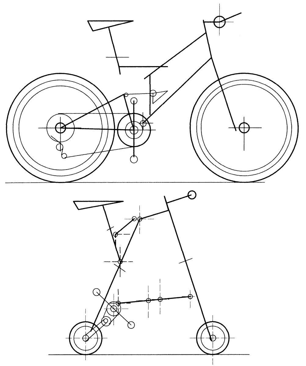 A sampling of the size difference between full-sized bike (a mountain bike shown) vs a micro bike design (a layout of the A-bicycle being shown).