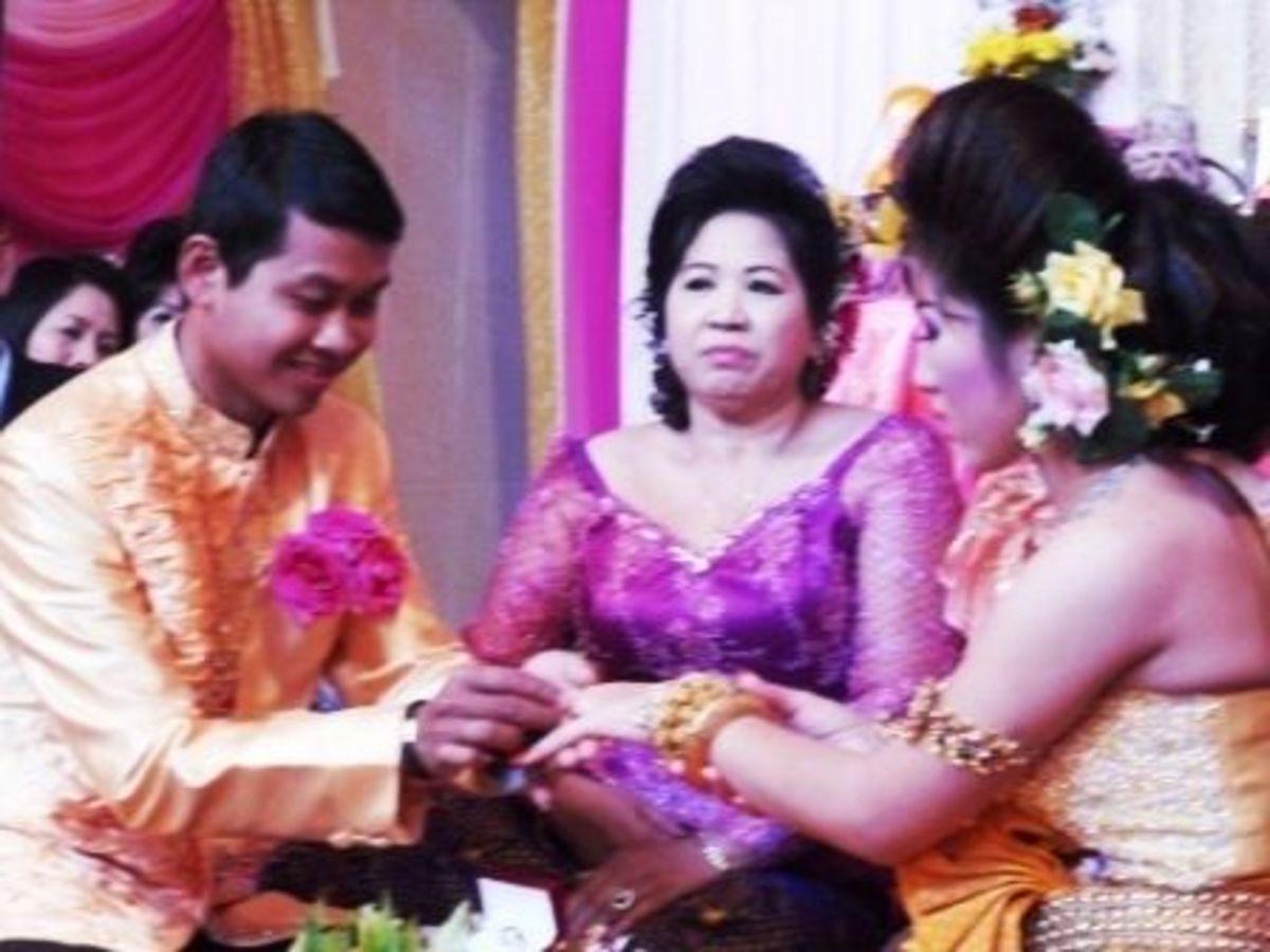 Exchange of Rings in Khmer Wedding