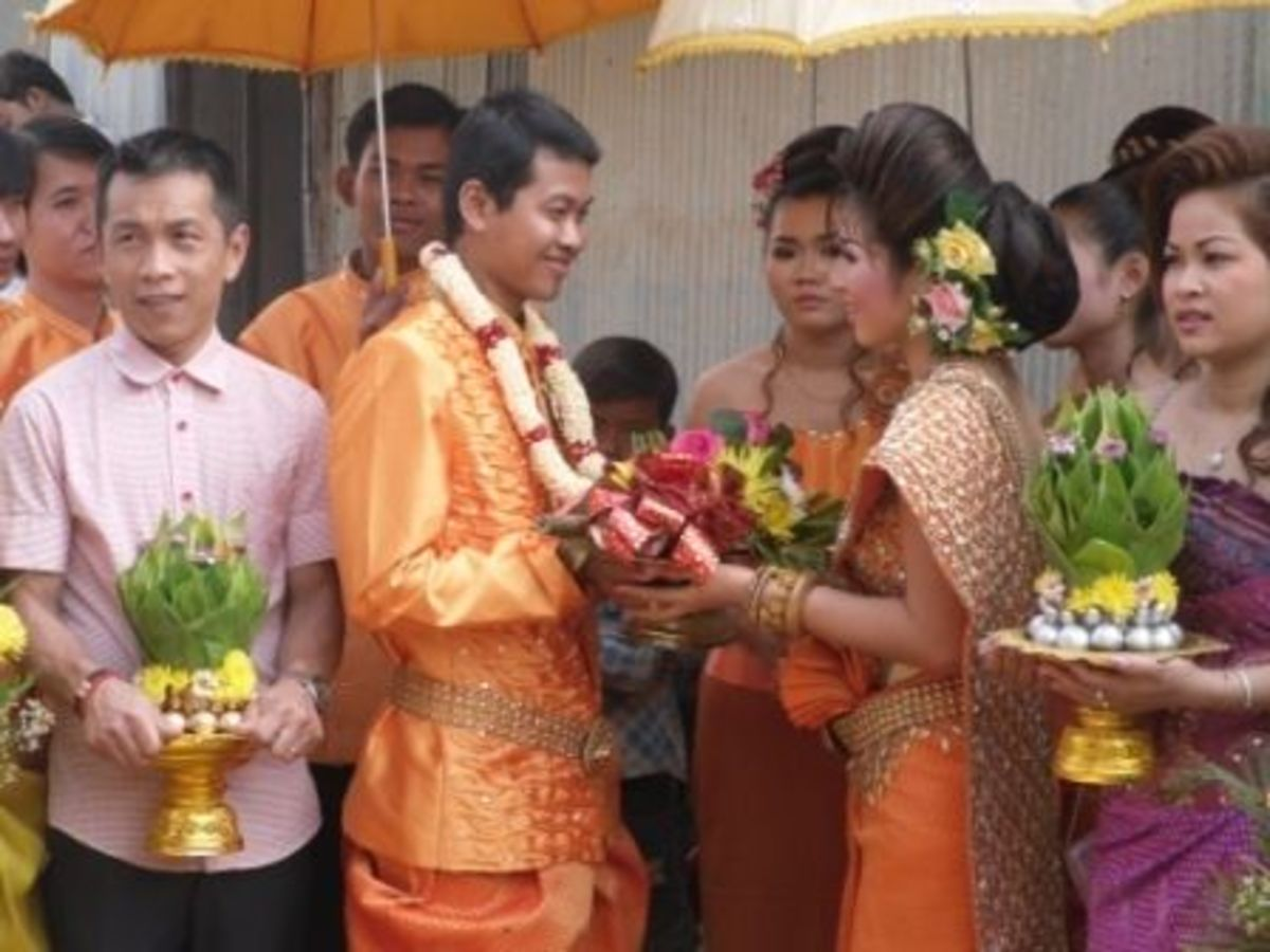 Putting of Garland in Khmer Wedding