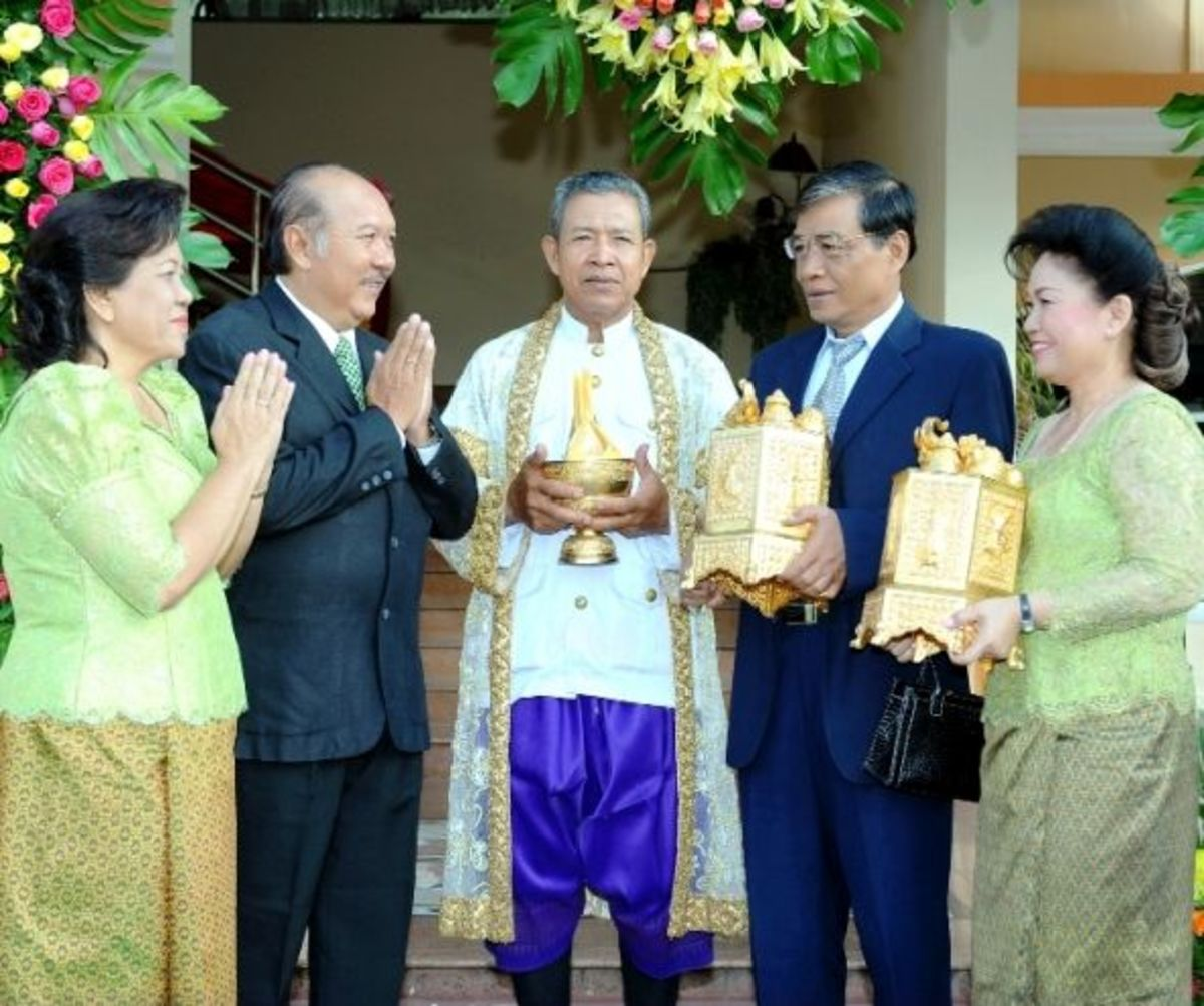 Families with Priest at the Cambodia Khmer Wedding