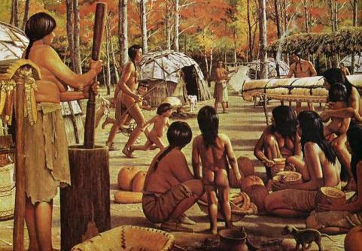 The Pottawatomie were similar to the Algonquian. Note the wigwams, the dress and the classic birch bark canoe.