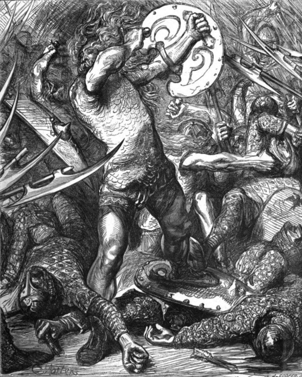 A Victorian - romanticised - image of Hereward fighting the Normans - single-handed it seems from this picture - from Cassell's 1885 History of England