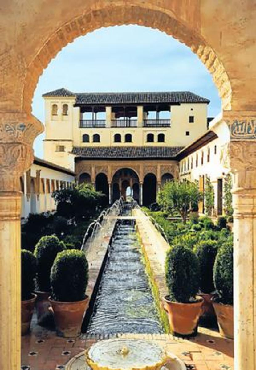 Perfect Symmetry ... The Alhambra, Grenada. The Alhambra, today, is totally fresh and overwhelming, with its palace gardens is also amazing for its sale: few small courtyards and pavilions perched on the edge of a cliff and seem to go on and on.