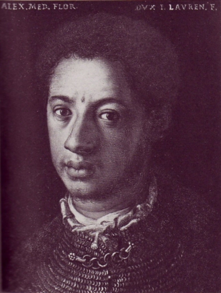 "Alessandro de' Medici, called ""Il Moro"" (The Moor"") was born in the Italian city of Urbino is 1510. His mother was an African slave named Dimonetta who had been freed"