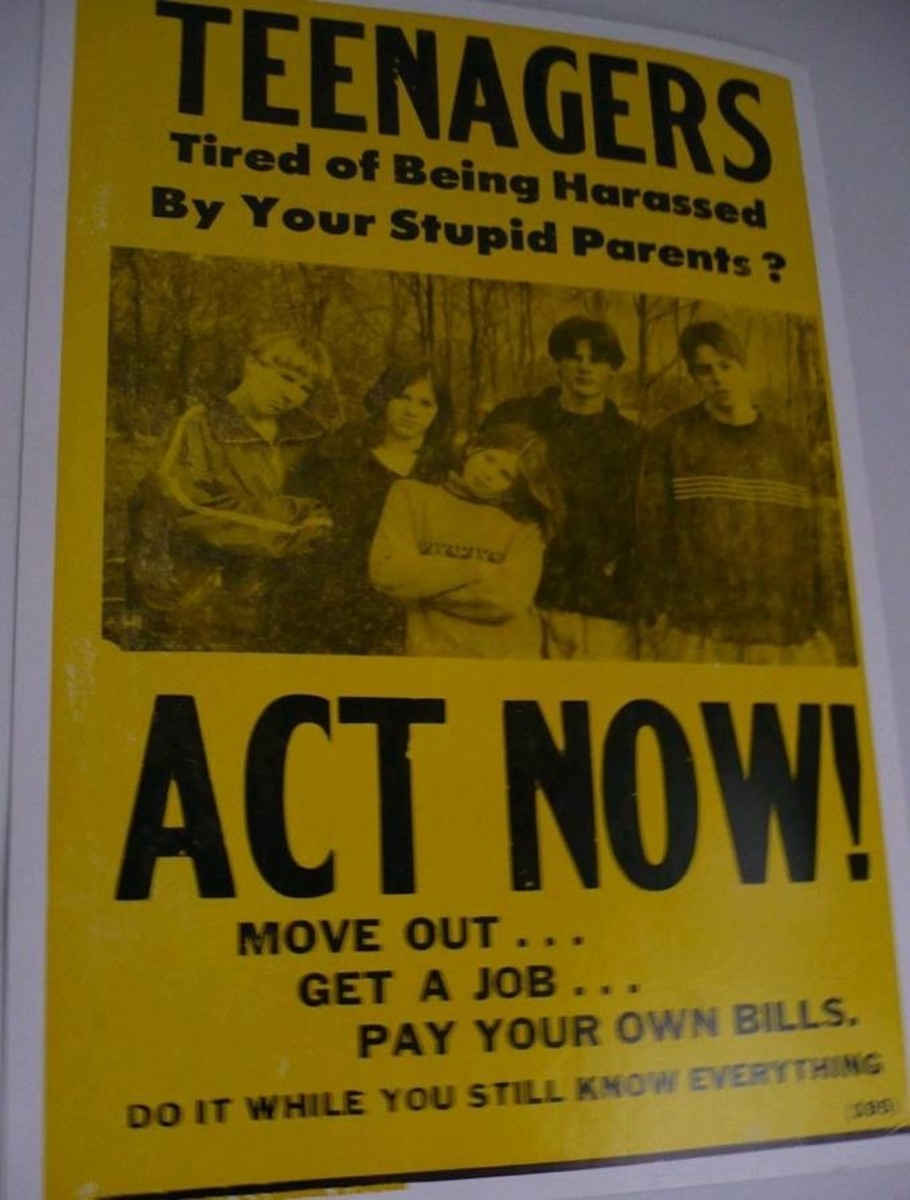 an old flier telling teenagers to get out of the house