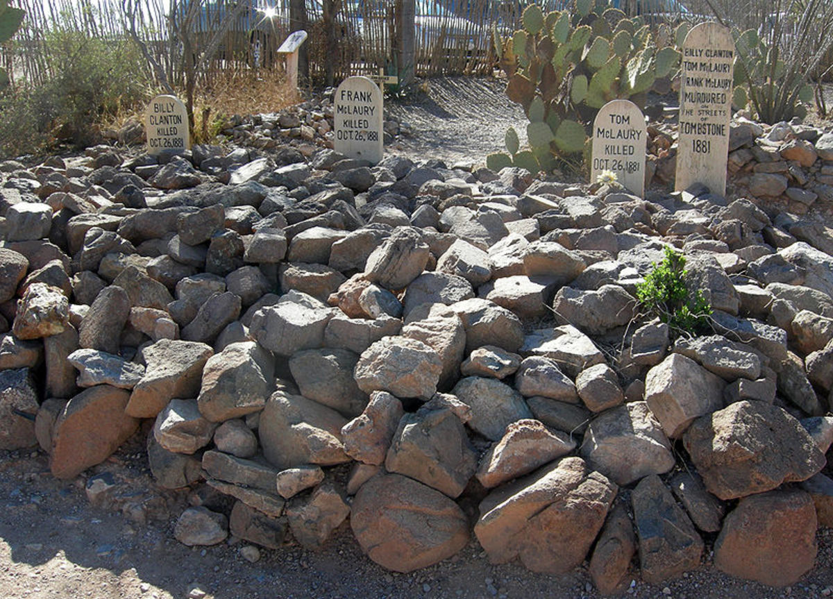 Graves of Billy Clanton, Frank McLaury, and Tom McLaury in Boothill Graveyard, Tombstone, Arizona.