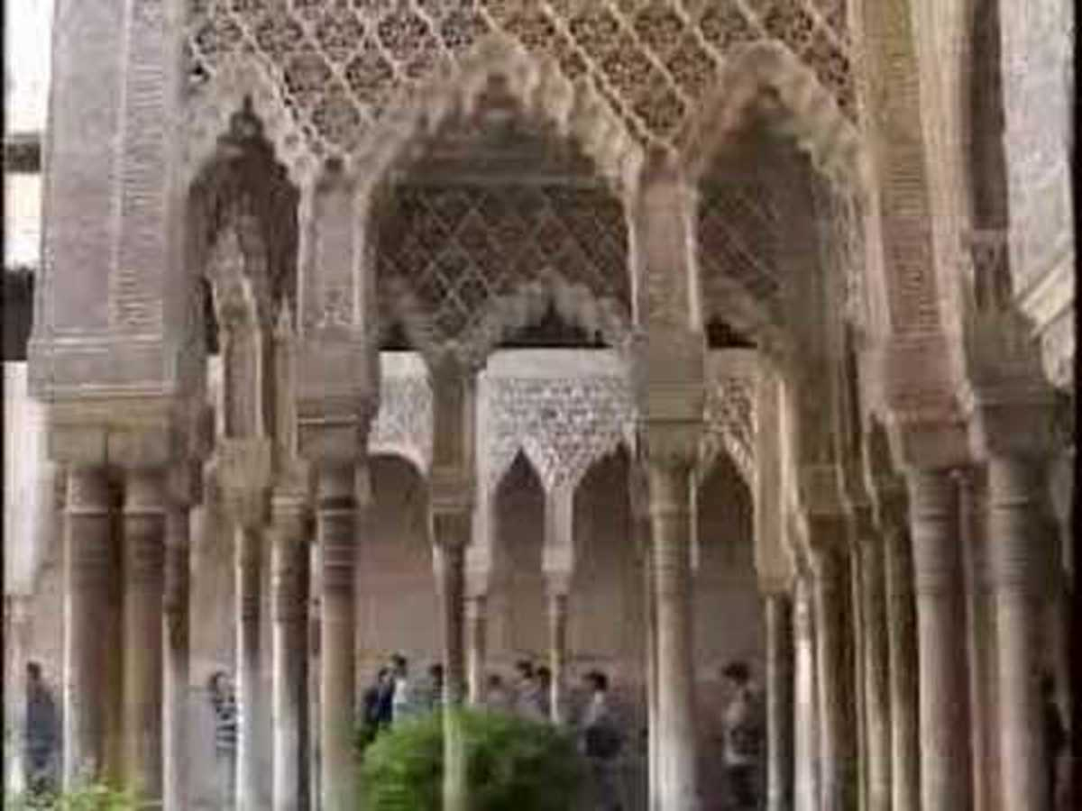 The Alhambra, Masterpiece of Moorish Architecture of Spain. In Grenada the Moorish rulers of Spain built lavish palaces and forts.