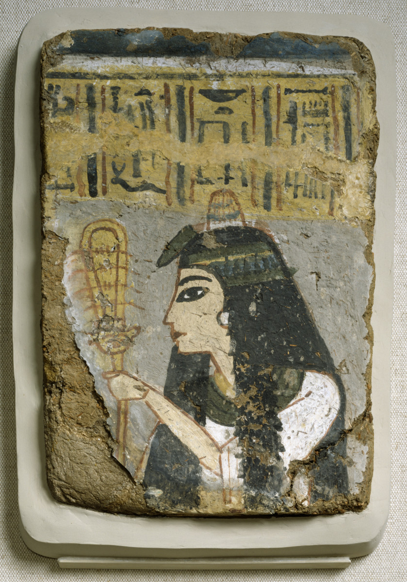 Egyptian Wall Pinting - woman Holding a sistrum