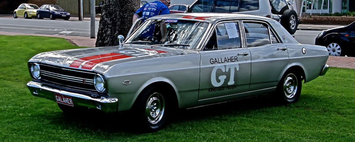 The beautifully restored Ford Falcon GT with Gallaher silver livery. One of eight built! Image from: Ferenghi http://www.carsaroundadelaide.com