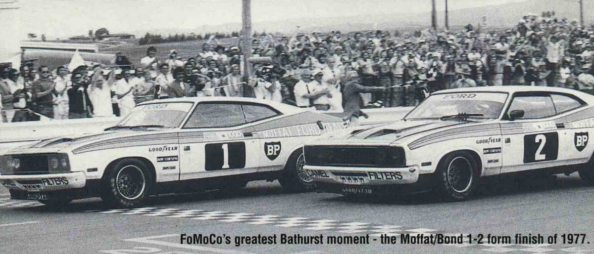 The famous Ford 1 -2 finish at Bathurst for the Ford XC Falcon.