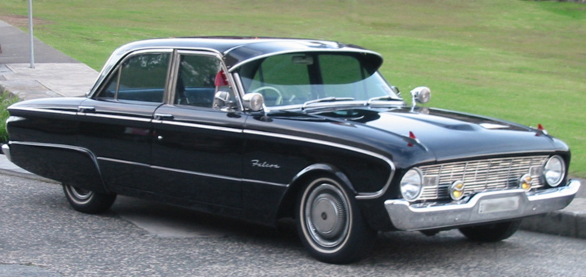 Ford Falcon 1960 vintage. Note all of the chrome and accessories that we were told we needed on our cars !
