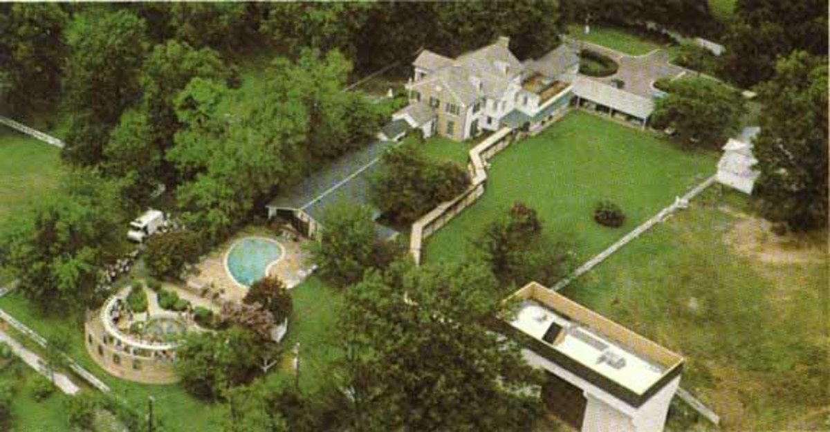 Graceland from the air. Does the ghost of Elvis still haunt Graceland.