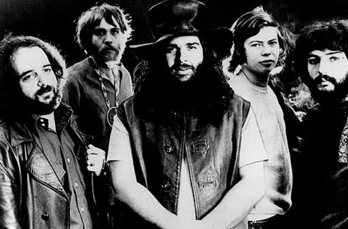 Alan Wilson pictured middle right with the band, Canned Heat. This photo was used for publicity two weeks before his death.