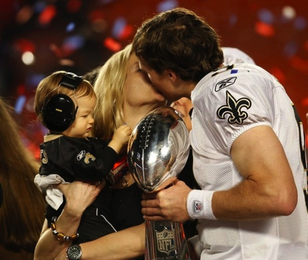 Drew Brees with wife Brittany and son Baylen at the Super Bowl XLXV win