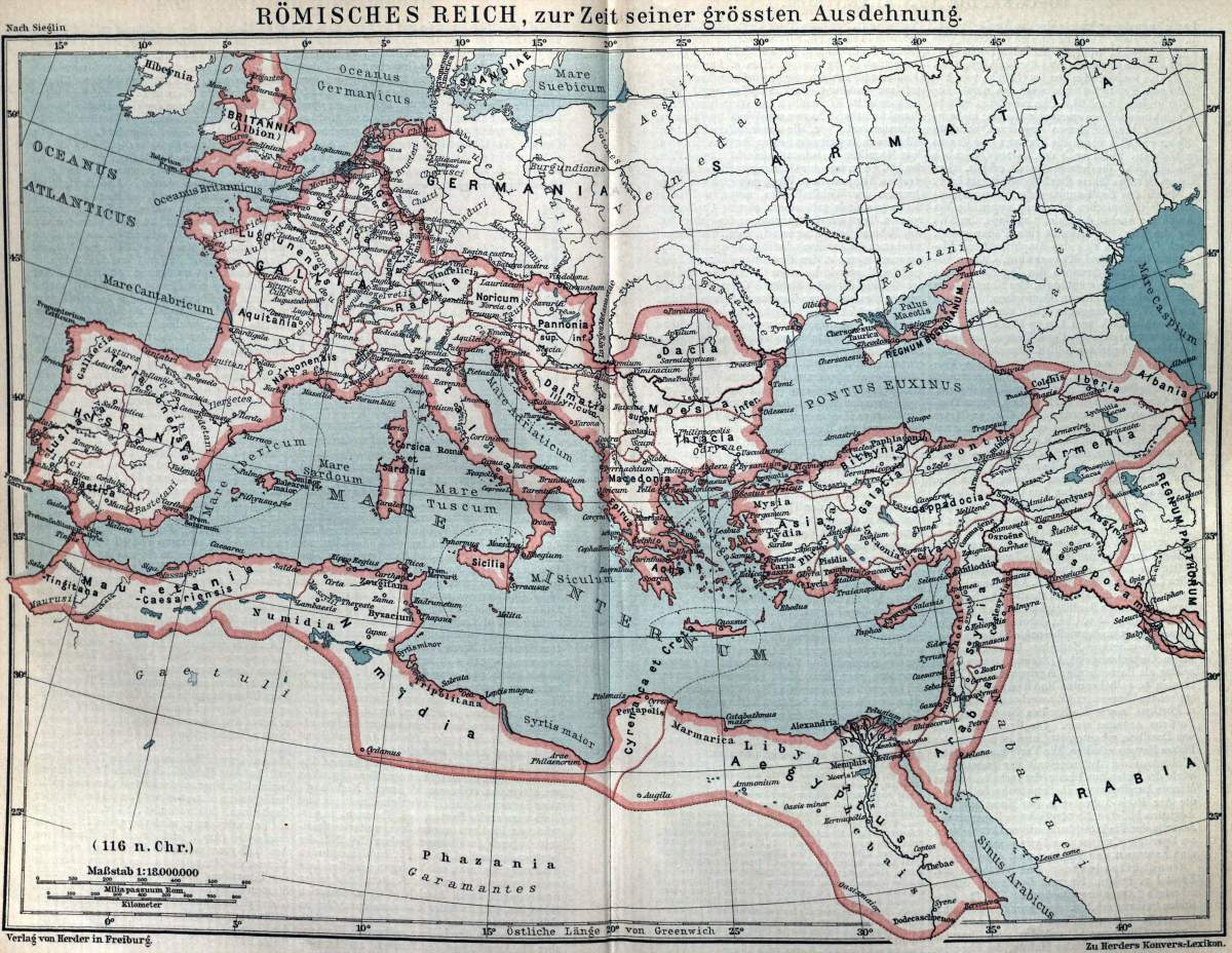 The Full extent of the Roman Empire in Red shade.