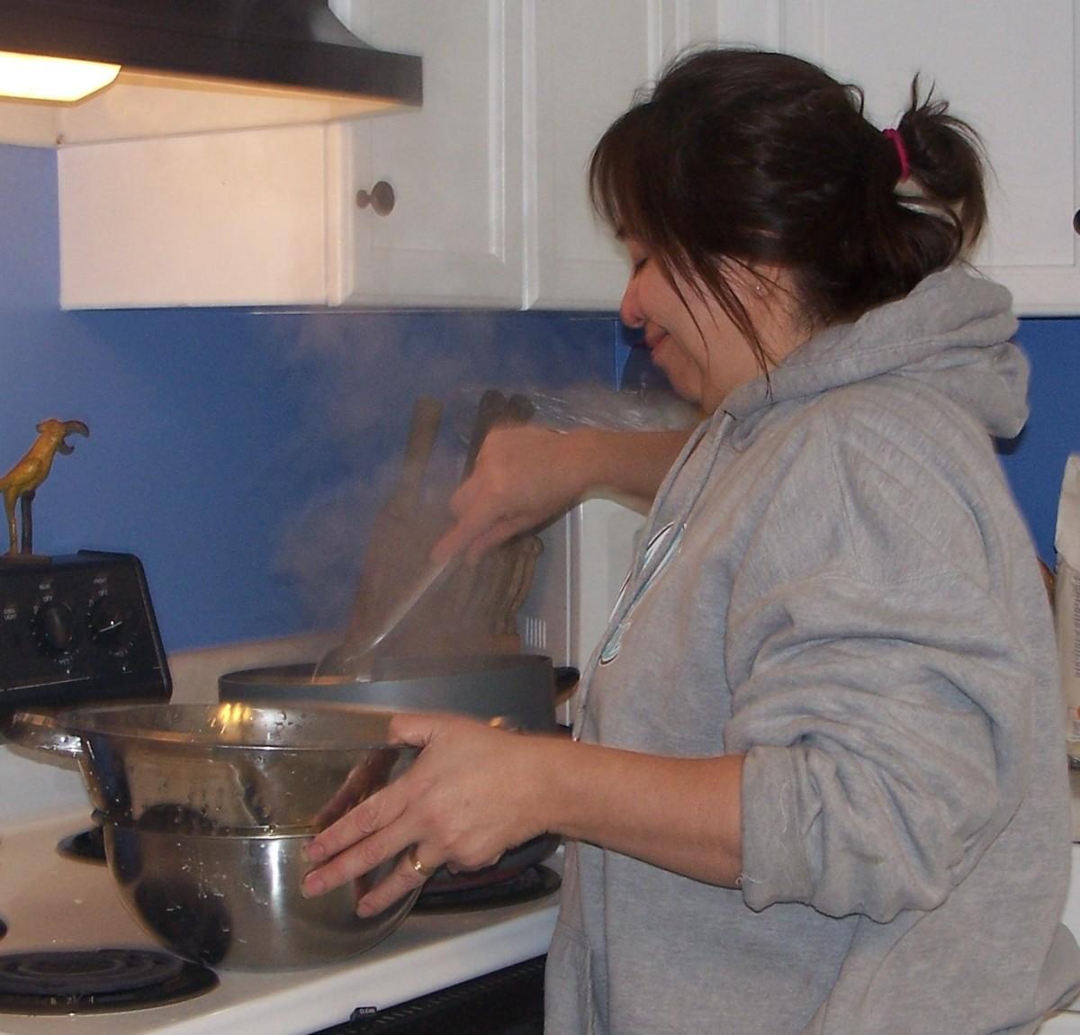 Cooking pierogies.