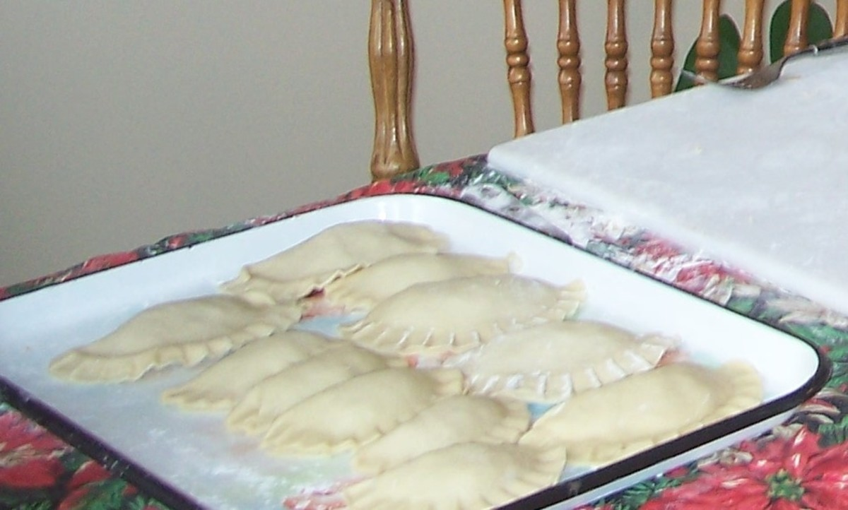 Tray of pirogies ready to cook