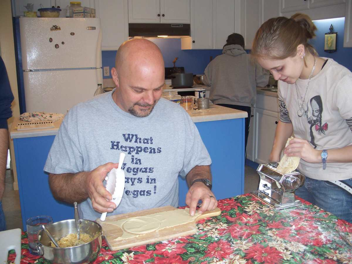 A Jeff and Jen making pierogies