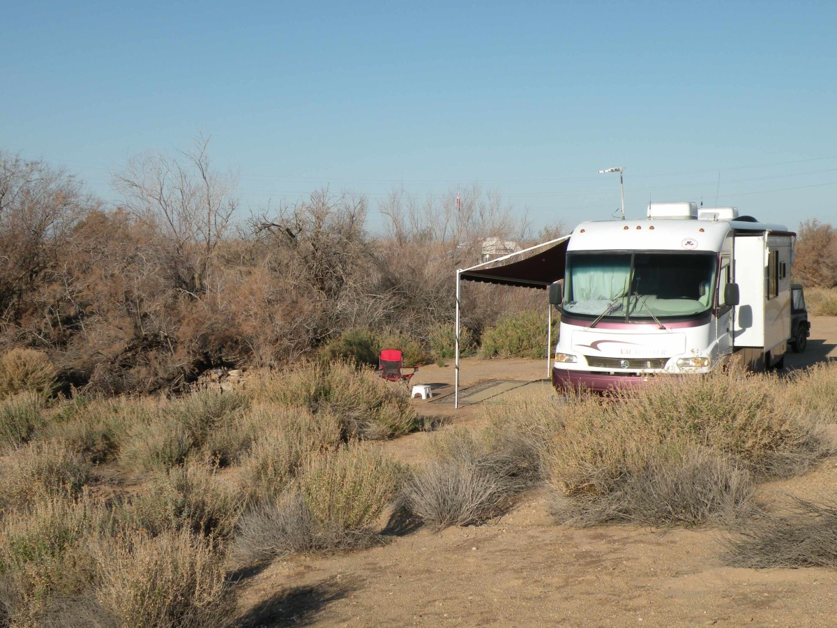 Camping in the desert away from the madding crowd.