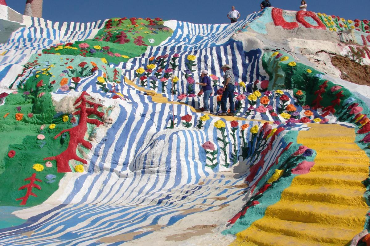 "The yellow brick road and ""water falls"" on Salvation Mountain."