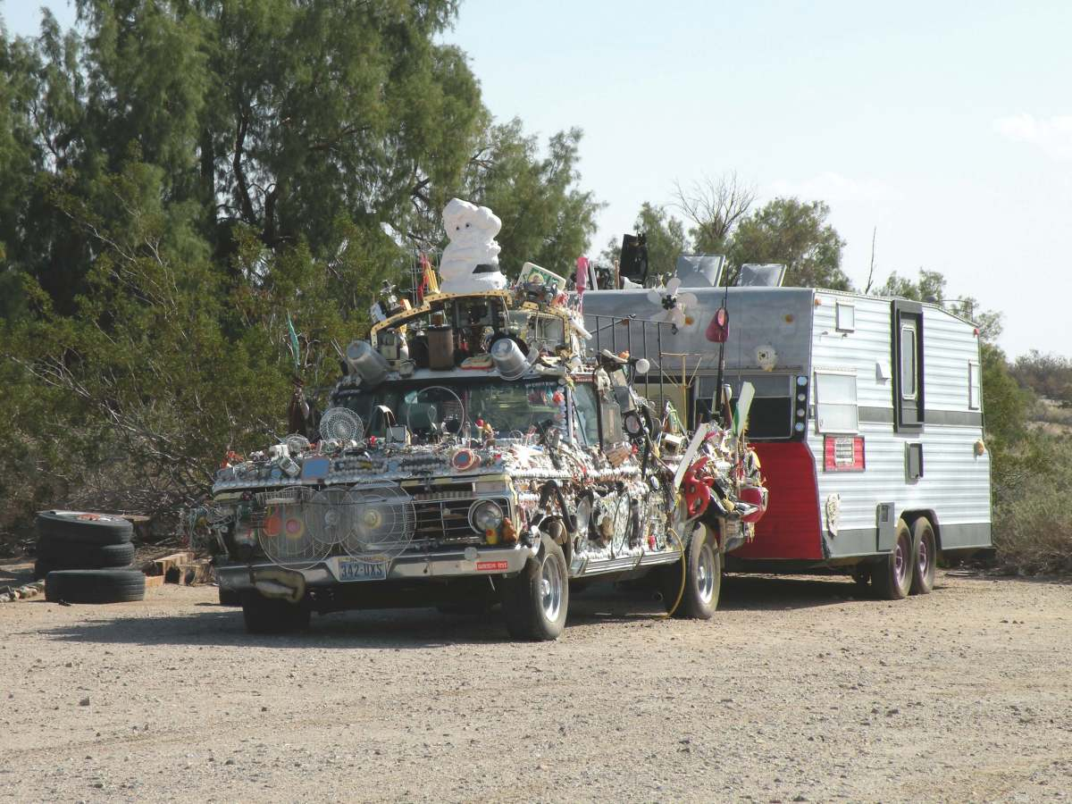 One of the creative residents of Slab City.