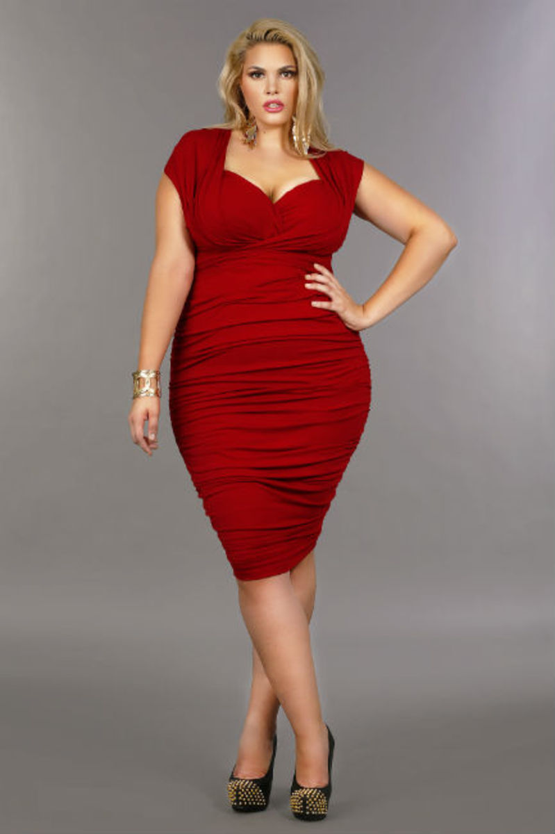 Marilyn Ruched Convertible Dress in Red.
