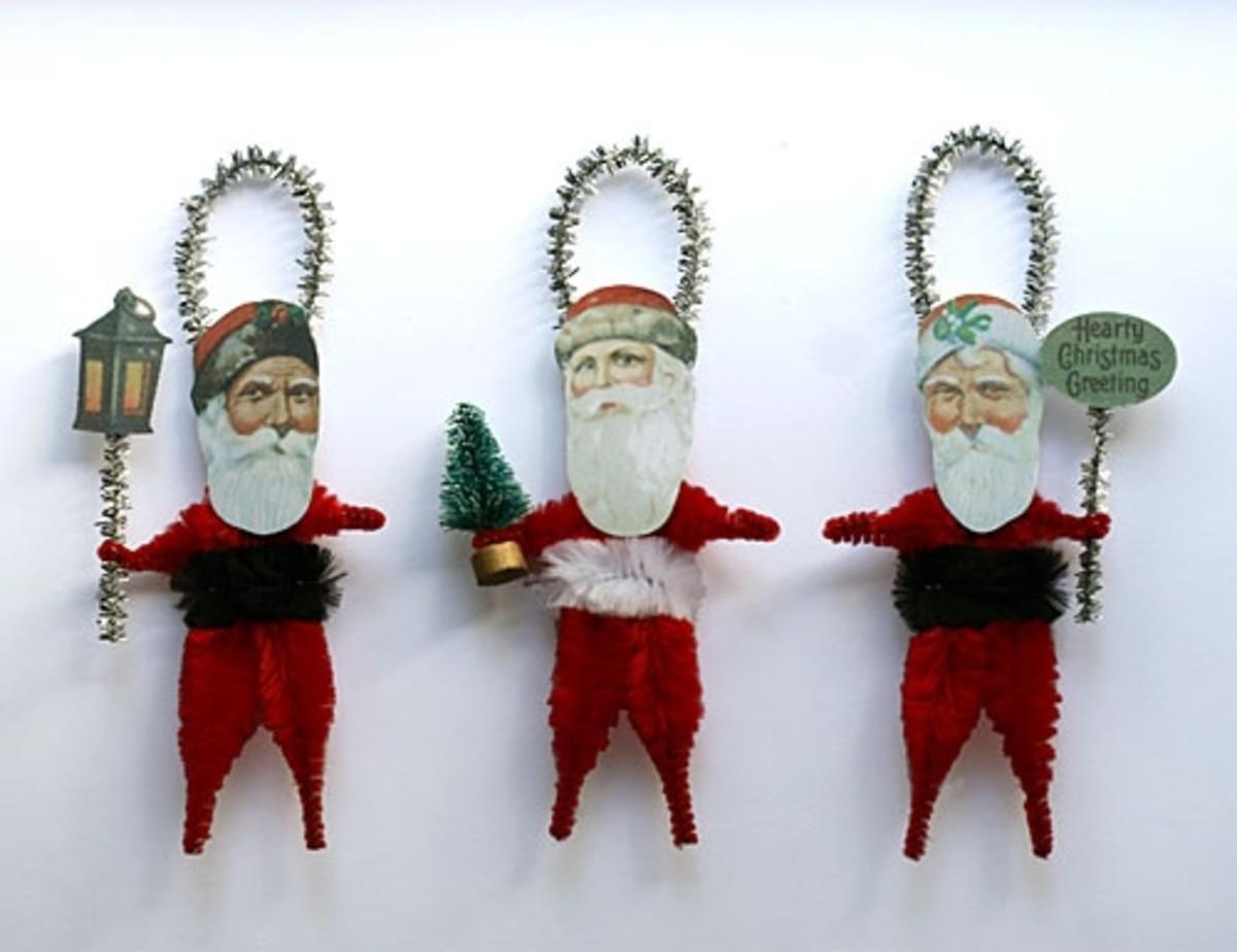 Vintage Victorian Santa Paper Ornaments