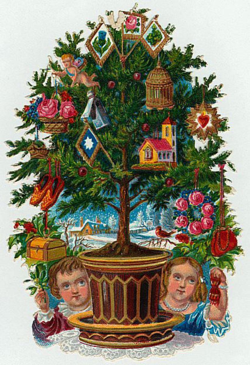 Vintage Victorian Table Top Christmas Tree