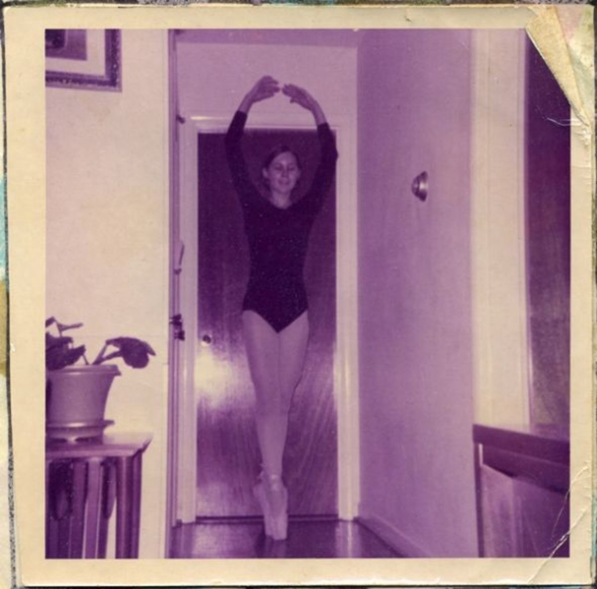 Here I am doing my thing on pointe in the hallway. I'm sure everyone in the family grew weary of my perpetual dancing.