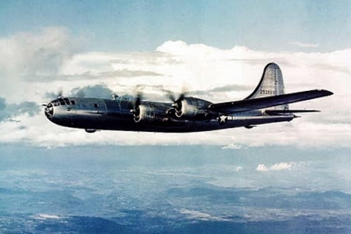B-29 Superfortress skimming the water.