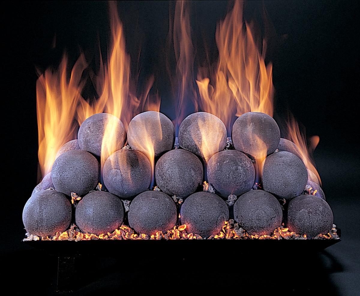 gas log fireplace fire balls on fire