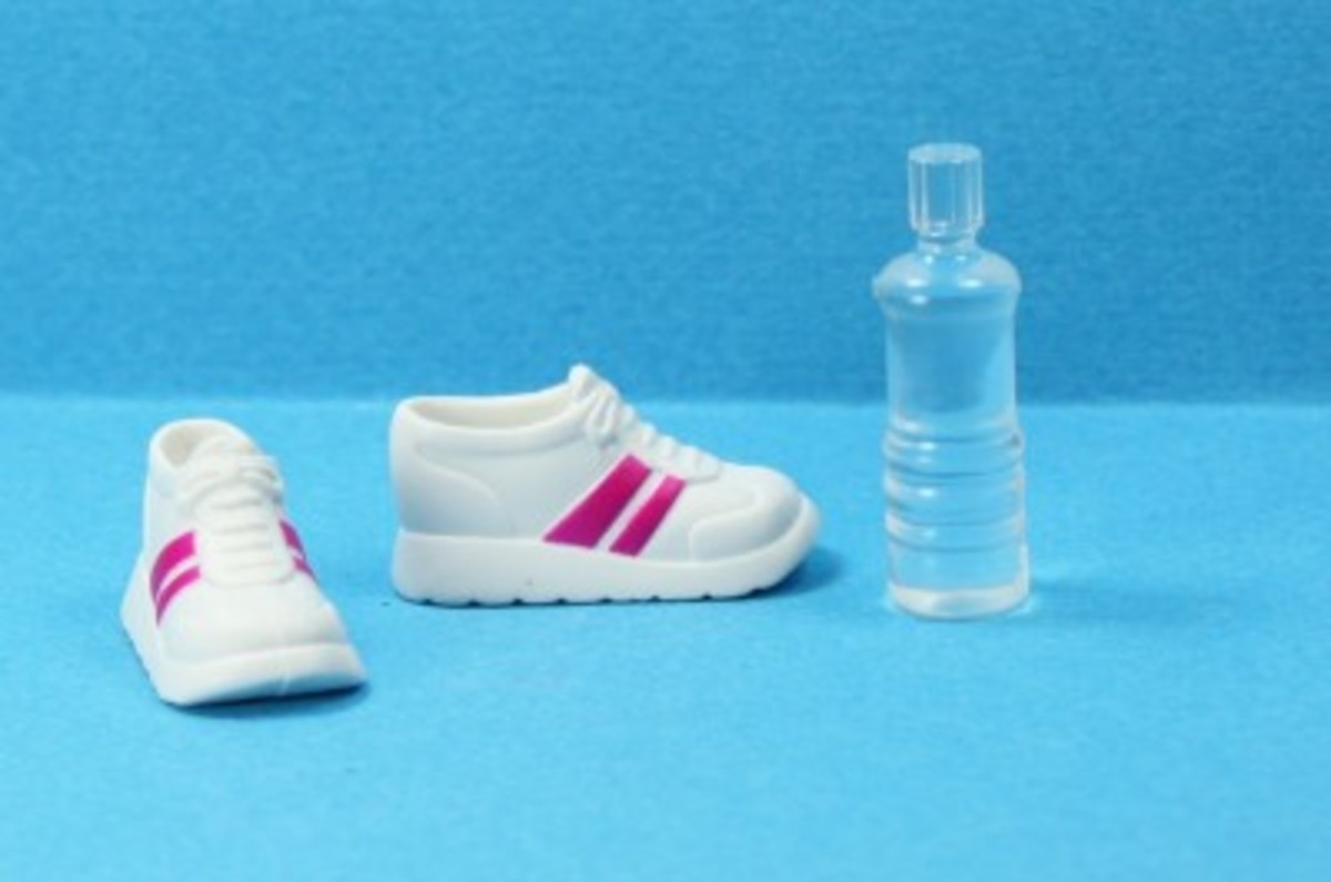 Barbie Doll Sneakers and Water Bottle